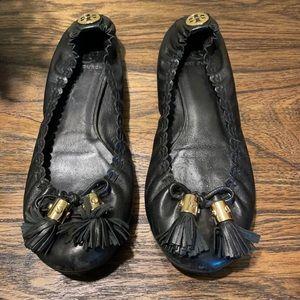 Black Tory Burch Reese Tassel Ballet Flats